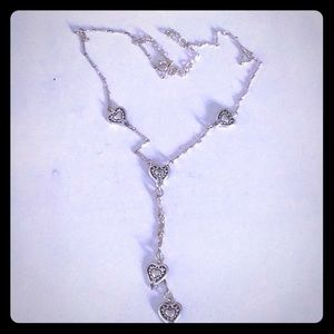 Silver heart choker style necklace